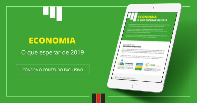 tablet contendo dentro o infográfico economia o que esperar de 2019